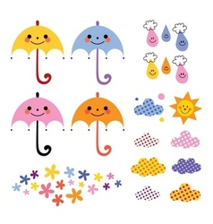 Cute umbrellas raindrops flowers clouds design vector