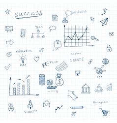 doodles business icons vector image