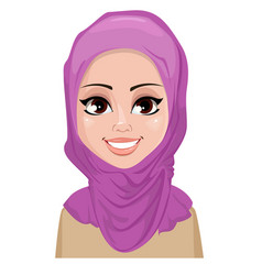 face expression of arabic woman - smiling vector image vector image