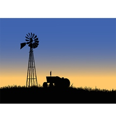 Farm tractor with windmill vector image vector image