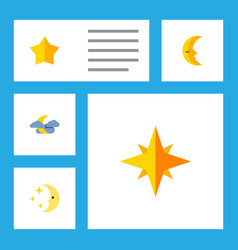 Flat icon bedtime set of asterisk midnight vector