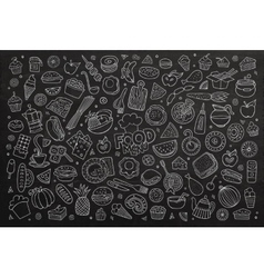 Foods doodles hand drawn chalkboard symbols vector