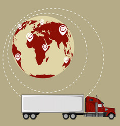Global network of commercial road cargo trucking vector