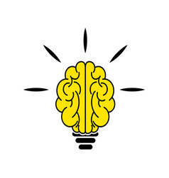 light bulb brain icon vector image vector image