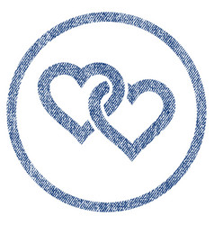 Linked hearts rounded fabric textured icon vector