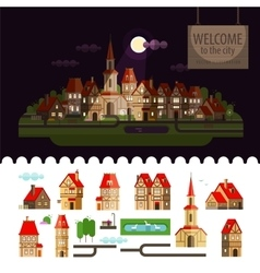 Night in the city set of elements - home church vector
