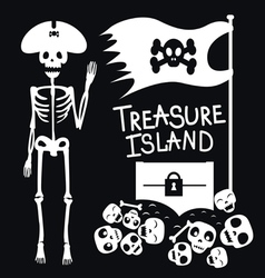 Pirate and treasures vector