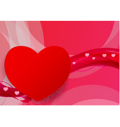 red and pink wave abstract with hearts shape vector image