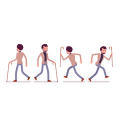 Set of dandy in walking and running poses rear vector