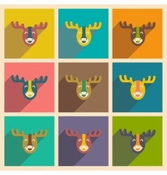 Set of flat icons with long shadow canadian moose vector