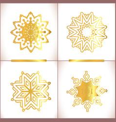 set of gold mandalas vector image