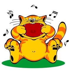 singing red cat vector image