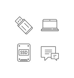 Ssd disk usb flash drive and notebook icons vector