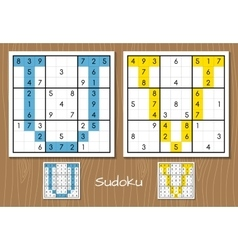 Sudoku set with answers u v letters vector