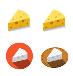 White and yellow cheese in flat style vector