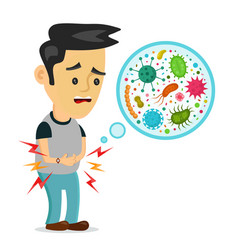 Young sick man having stomach ache vector