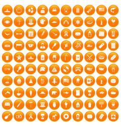 100 usa icons set orange vector