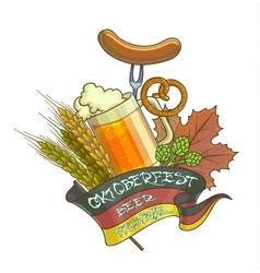 Octoberfest beer festival cartoon design with vector image