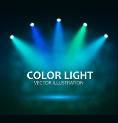 Spotlight on stage for your design colorful light vector
