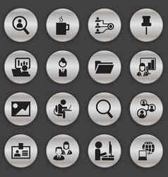 Set of 16 editable bureau icons includes symbols vector