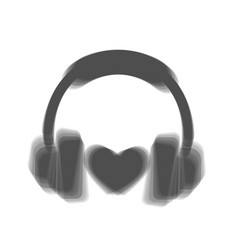 Headphones with heart  gray icon shaked at vector
