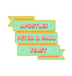 apostles peter  paul feast greeting emblem vector image