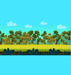 Game background with forest and green foreground vector