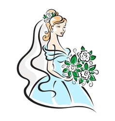 Beautiful bride with flowers vector