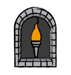 Cartoon torch with frame brick decoration vector