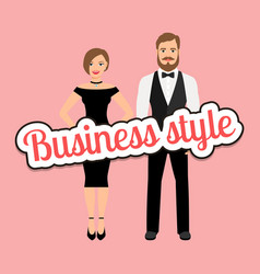 Beautiful couple in business style clothing vector