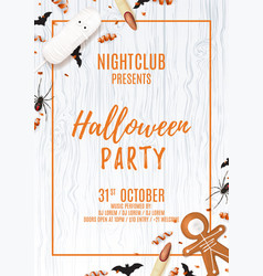 Halloween party poster with treats vector