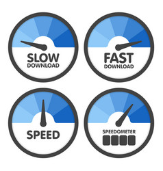 Round speedometers set with slow and fast speed vector