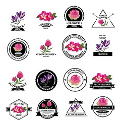 Flower shop icons vector image