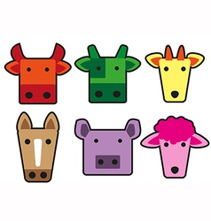 Animal head cartoon rectangle vector