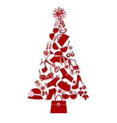 Christmas tree female gifts vector