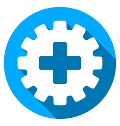 Plus gear flat round icon with long shadow vector