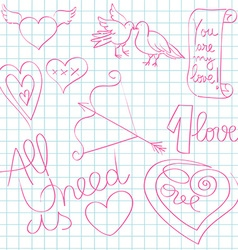 valentine day doodles vector image