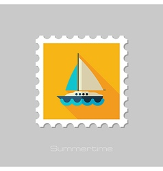 Boat with a sail flat stamp summer vacation vector