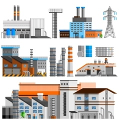 Industrial buildings orthogonal set vector