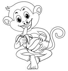 Animal outline for monkey eating banana vector