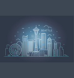 Banner of seattle city in flat line trendy style vector