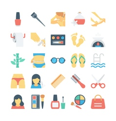 Beauty and spa colored icons 3 vector
