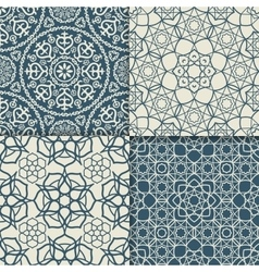 Blue arabic pattern set vector image vector image