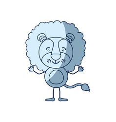 Blue color shading silhouette caricature of lion vector