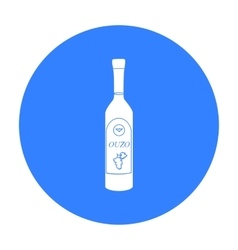 Bottle of ouzo icon in black style isolated on vector