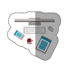 Computer notebook and smartphone design vector