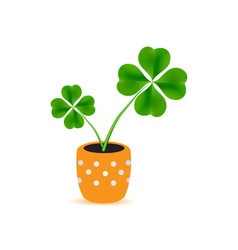 Dotted flower pot with cloverleaf plant icon eps10 vector