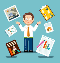 Flat design businessman with graphs on papers vector