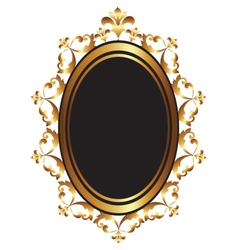 Golden baroque mirror frame vector