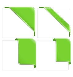 Green corner ribbons vector